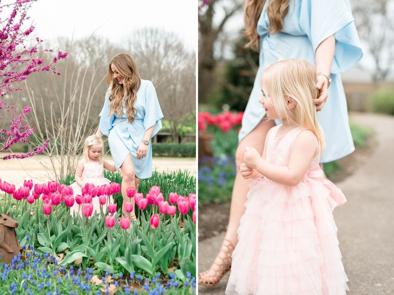 Best Family Photographers Memphis TN |Memphis Botanical Garden | Celebrate Motherhood Mommy and Me Photo Session | Mother and daughter walking through tulip garden