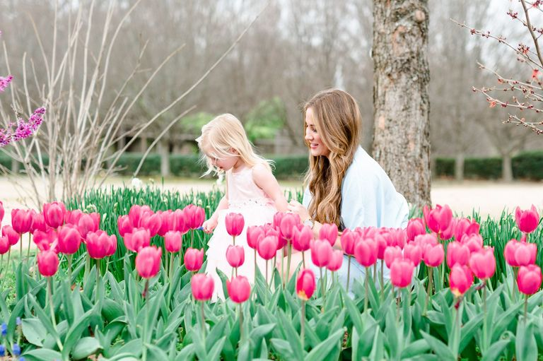 One of 20 Best Portrait Photographers Memphis TN |Family, Baby and Child Photographer | Memphis Botanical Garden | mom and toddler daughter in flower garden